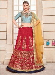 Red Colour Thai Silk Bridal Lehenga Choli