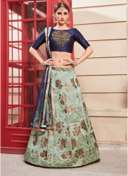 Green Phantom Silk Bridal Lehenga Choli