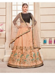 Peach Thai Silk Bridal Lehenga Choli