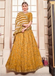 Mustard Phantom Silk Bridal Lehenga Choli