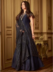 Black & Blue Net Salwar Kameez