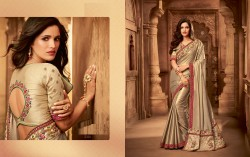Gold Silk Base Embroidery Saree
