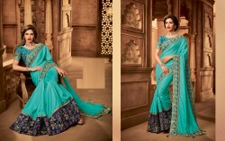 Sky Blue Silk Base Embroidery Saree