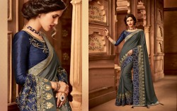 Gray Silk Base Embroidery Saree