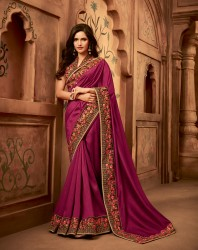 Dark Pink Silk Base Embroidery Saree