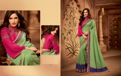 Light Green Silk Base Embroidery Saree