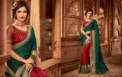 Red Silk Base Embroidery Saree