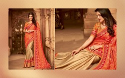 Orange Silk Base Embroidery Saree
