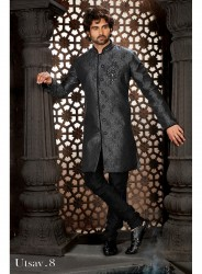 Black Indowestern Bridges Sherwani