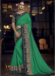 Green Satin Silk Embroidery Saree