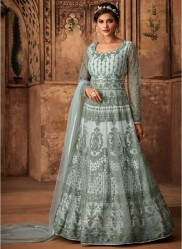 Gray Net Ankle-Length Salwar Suit