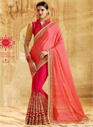 Pink Silk Georgette Embroidery Saree