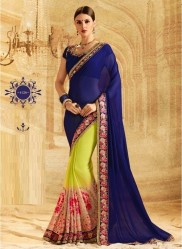 Srk Lemon & Blue Georgette Embroidery Saree
