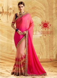 Peach & Pink Georgette Embroidery Saree