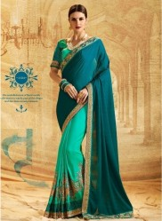 Sea Green Jacquard Chiffon Embroidery Saree