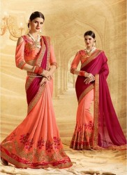 Peach Jacquard Chiffon Embroidery Saree