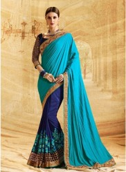 Blue Jacquard Silk Embroidery Saree