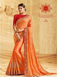 Orange Banarasi Silk Embroidery Saree