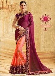 Orange & Purple Jacquard Silk Embroidery Saree
