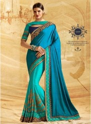 Sea Blue Jacquard Chiffon Silk Embroidery Saree