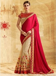 Beige & Red Jacquard Embroidery Saree