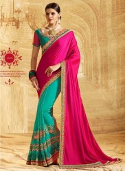 Sea Green & Dark Pink Georgette Embroidery Saree