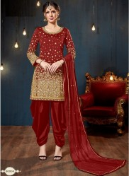 Red Taffeta Silk Glass Work Salwar Suit