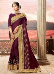 Wine Vichitra Cotton Silk Saree