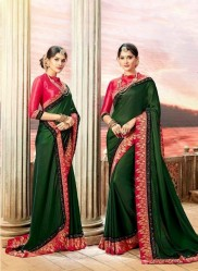 Green Vichitra Cotton Silk Saree