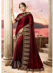 Maroon Vichitra Cotton Silk Saree