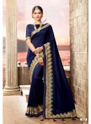 Navy Blue Vichitra Cotton Silk Saree