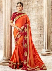 Orange Vichitra Cotton Silk Saree