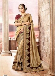 Chikoo Vichitra Cotton Silk Saree