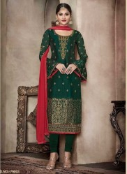 Green Pure Banglori Silk Jacquard Straight-Cut Salwar Suit