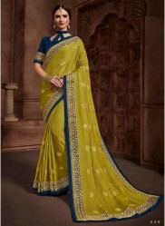 Lime Green Satin Silk Embroidery Saree
