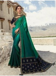 Green Satin Georgette Saree
