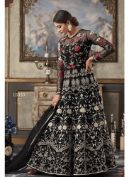 Black Net Heavy Embroidery Anarkali Salwar Suit