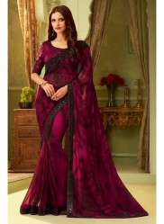 Wine Georgette Embroidery Saree