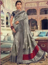 Gray Banarasi Silk Saree
