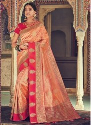 Dark Peach Banarasi Silk Saree