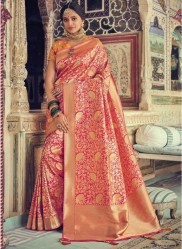 Pink & Gold Banarasi Silk Saree