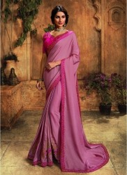 Magenta Barfi Silk Embroidery Saree