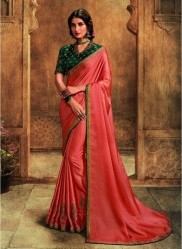 Dark Peach Barfi Silk Embroidery Saree