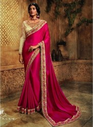 Pink Crepe Silk Embroidery Saree