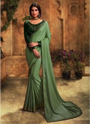 Light Olive Green Barfi Silk Embroidery Saree