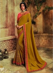 Dark Mustard Barfi Silk Embroidery Saree