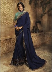 Navy Blue Vichitra Silk Embroidery Saree