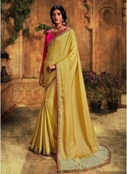 Light Mustard Barfi Silk Embroidery Saree