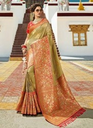 Olive Green Pure Banarasi Silk Saree