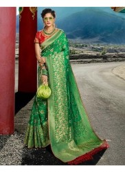 Green Pure Banarasi Silk Saree